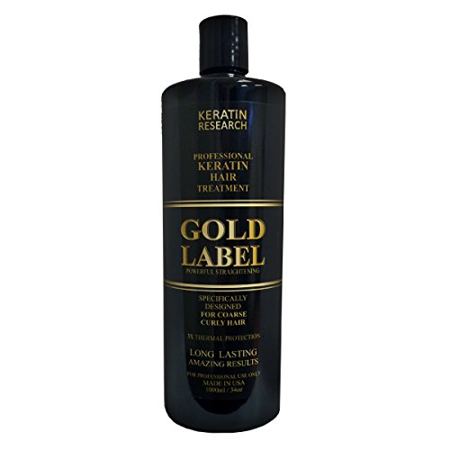 Gold Label Professional Brazilian Keratin Blowout Hair Treatment Designed for Coarse, Curly, Black, African, Dominican, and Brazilian Hair Types 1000ml